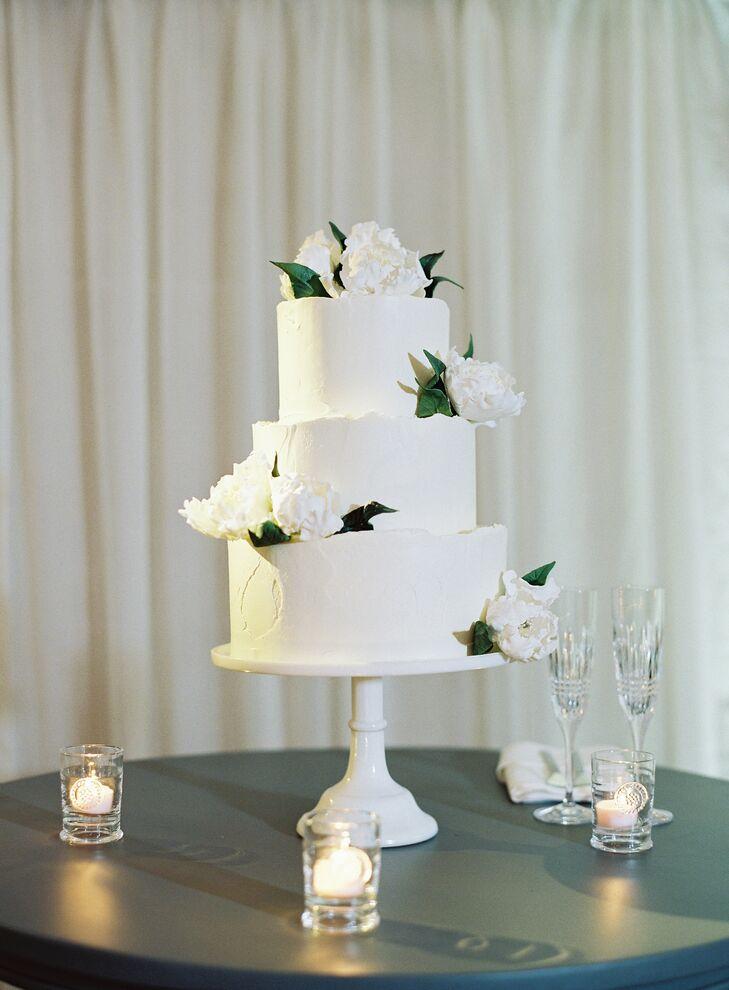 White Three-Tier Cake  for Napa Valley Wedding