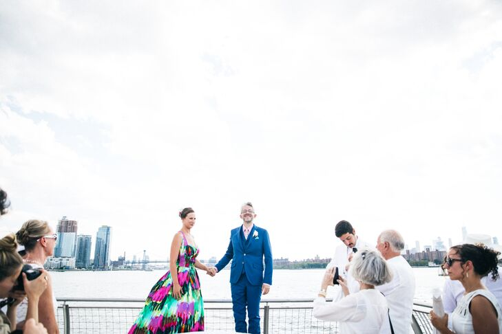 Casual Park Ceremony Overlooking the City Skyline