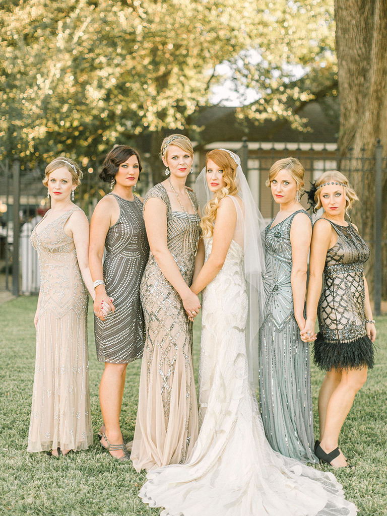 These mismatched bridesmaid dresses are the hottest trend glamorous metallic mismatched bridesmaid dresses ombrellifo Images