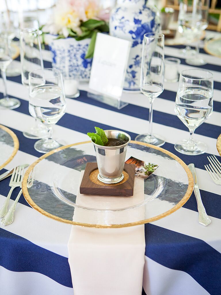 Mint Julip signature cocktail with wood coaster wedding favor