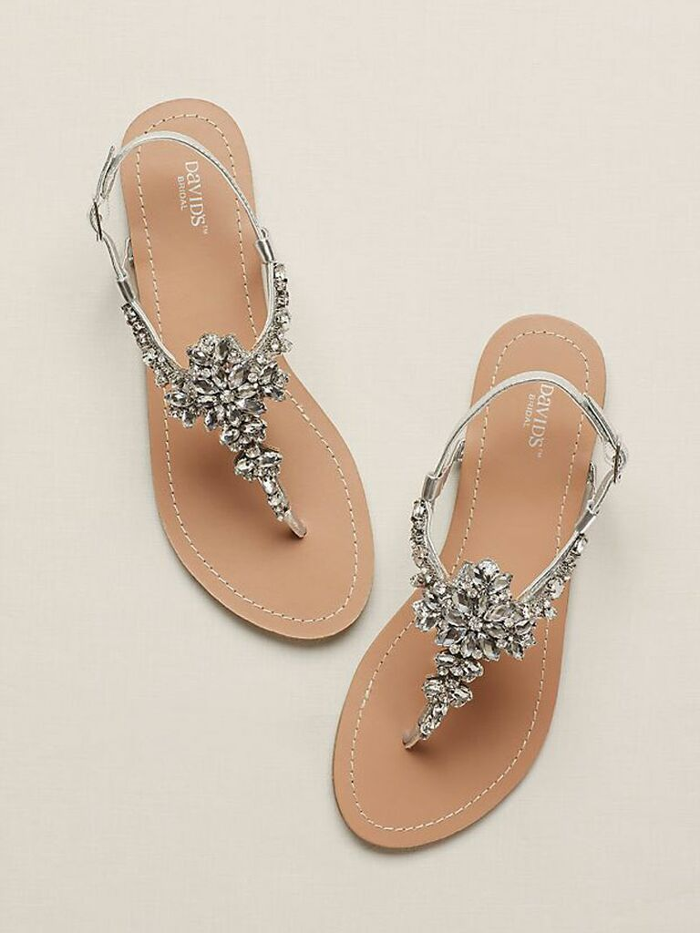 silver dressy flat sandals