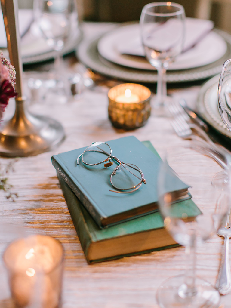 stacked books centerpieces