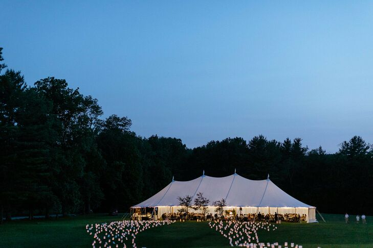 Sunset Photo of Reception Tent and Luminaria