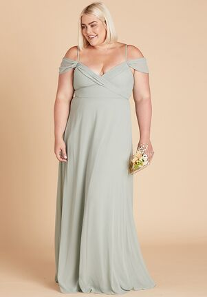 Birdy Grey Spence Convertible Dress Curve in Sage V-Neck Bridesmaid Dress
