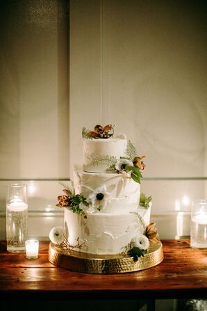 Modern Tiered Cake with Large Blooms