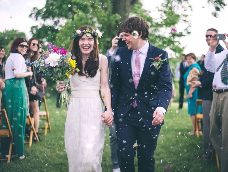 Bride and groom at spring wedding
