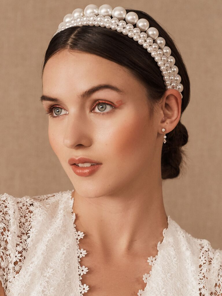 Three strand pearl bridal headband