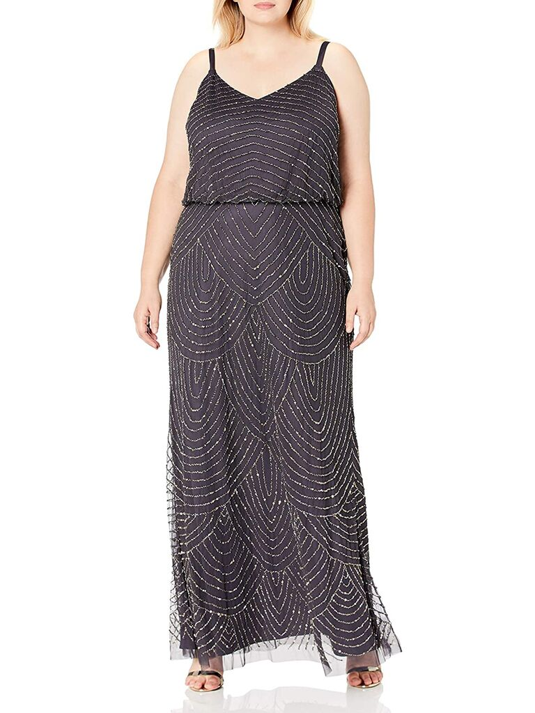 Gunmental plus size maxi dress with beads