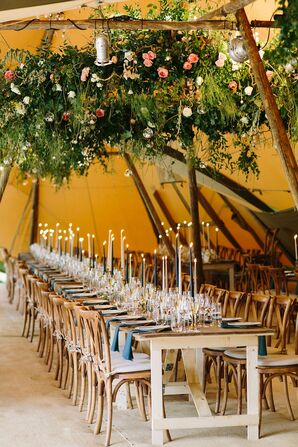 Bohemian Teepee Reception with Hanging Greenery and Candles