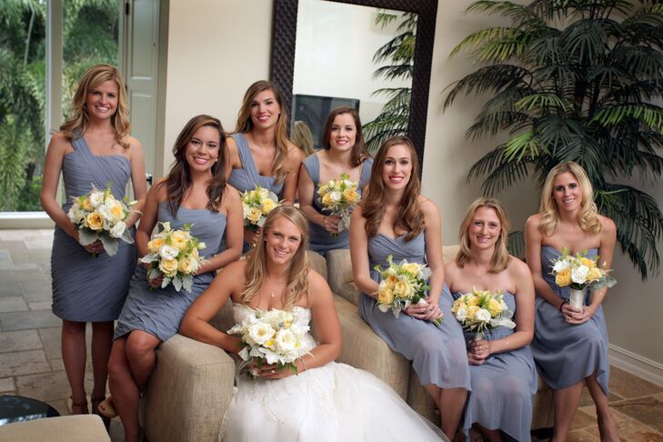 As Elle's bridesmaids lived throughout the U.S., she chose silk chiffon French blue Monique Lhuillier dresses from Bella Bridesmaid. Each woman chose her dress style.