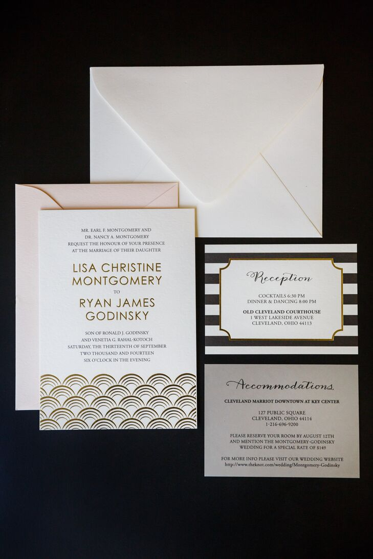 Wedding invitations were black and white with an art deco design. The invitations were designed by OliveINK.