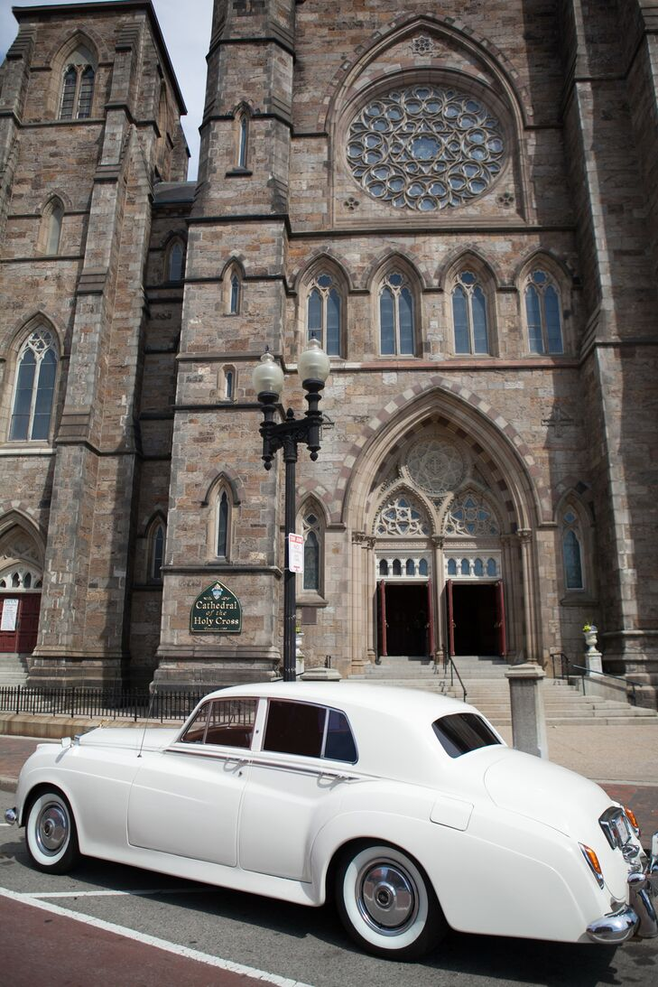 """Stephanie and Max loved the cathedral's grand atmosphere, where their large wedding party fit comfortably. """"We knew instantly when we walked inside that it was the place for us,"""" Stephanie says. """"The aisle was a bit daunting at 300 feet long, but the jitters quickly went away once the procession started."""""""