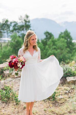 Lace, A-Line Tea-Length Wedding Dress