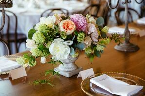 Romantic Garden Rose, Dahlia and Hydrangea Centerpieces