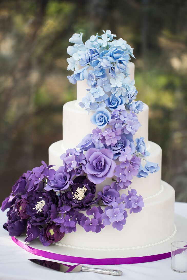 Ombre Blue And Purple Wedding Cake