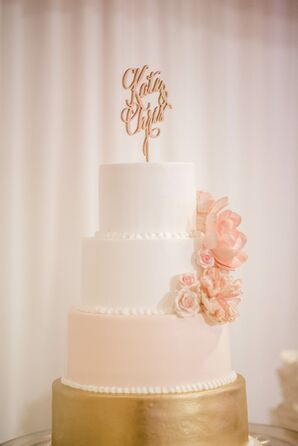 Four-Tier White, Blush and Gold Wedding Cake