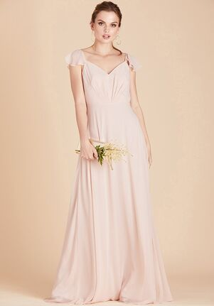 Birdy Grey Kae Bridesmaid Dress in Pale Blush V-Neck Bridesmaid Dress