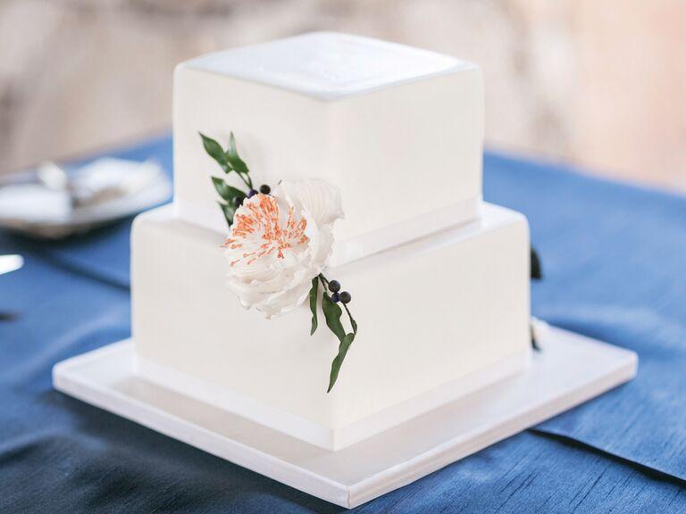 Small simple square wedding cake
