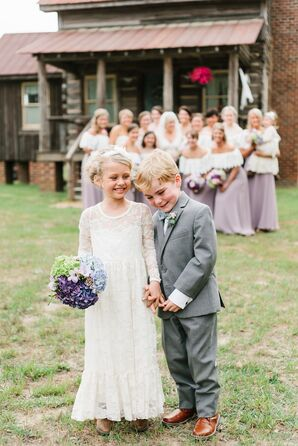 Long Lace Flower Girl Dress and Classic Ring Bearer Suit