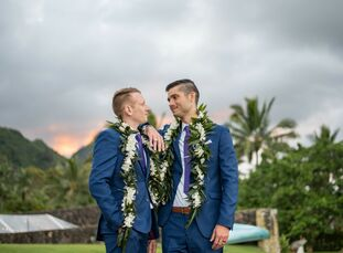 "Randy Hecht and Jason Iselt wed on a private estate in Oahu, Hawaii, in a tropical celebration that was both colorful and aviation-centric. ""With my s"