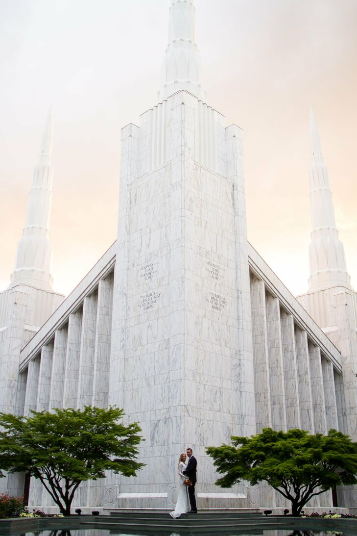 """""""Preston and I are Mormon, so we knew we wanted to get married in the Portland LDS Temple,"""" Emily says. """"The ceremony was private with close friends and family, and the temple is absolutely beautiful and surrounded by big beautiful trees."""""""