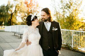 Bohemian Couple at Fall Wedding