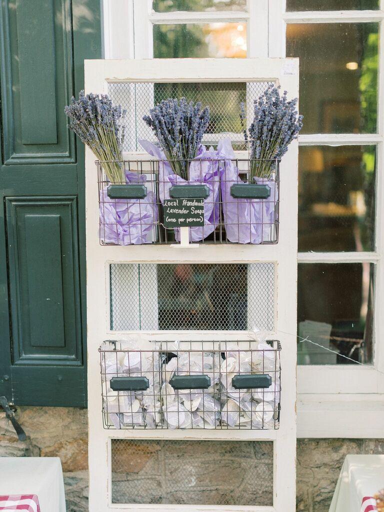 Dried lavender favor display