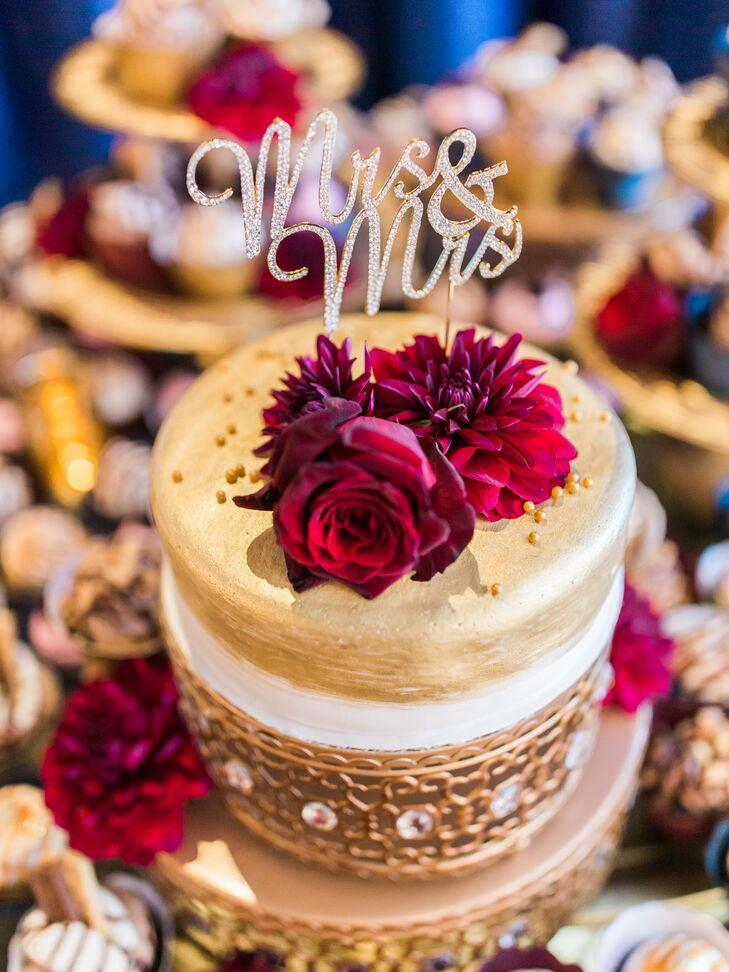 Brushed Metallic Cake with Burgundy Flowers