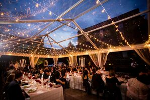 Tented Reception with String Lights at The Foundry in Long Island City