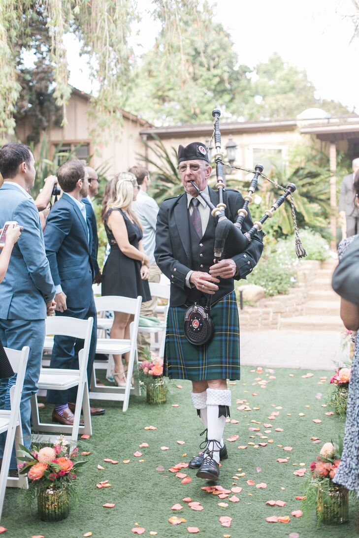 """I'm very Scottish,"" says Jillian, who trained as a highland dancer growing up. ""We had bagpipes when I walked down the aisle with my dad and during the recessional."""