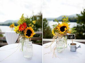 Rustic Sunflower and Mason Jar Centerpiece