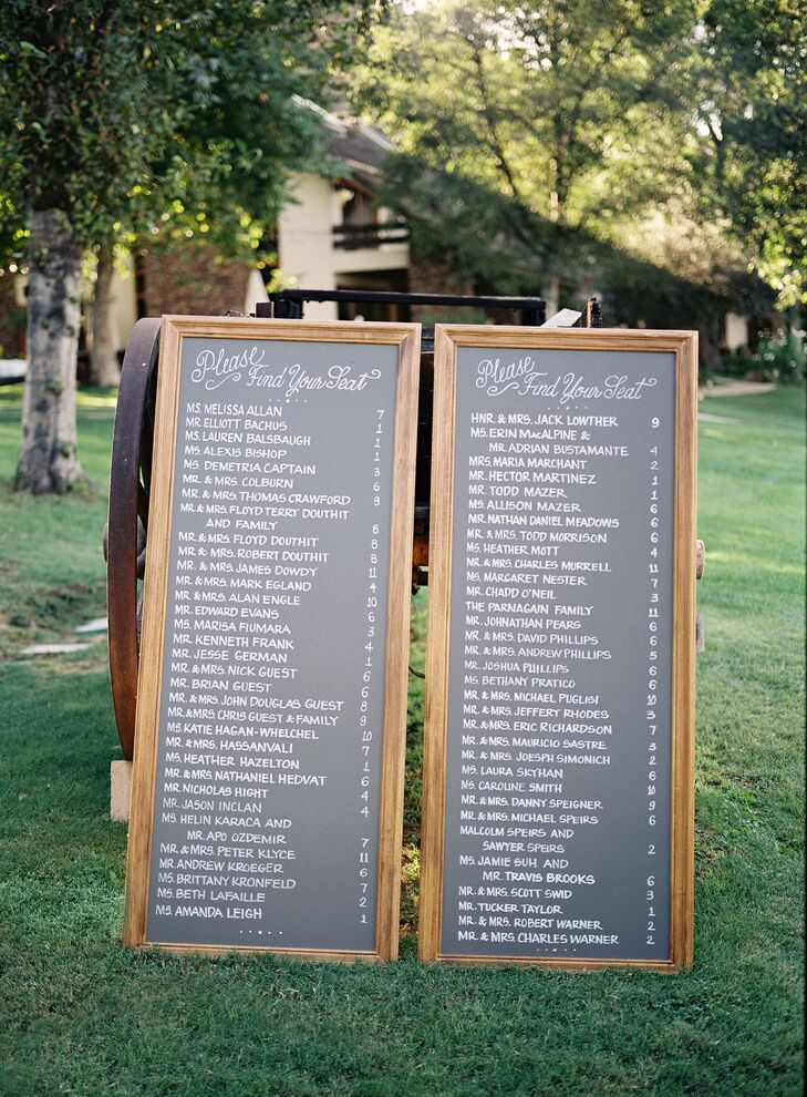A chalkboard seating chart helped guests find their way to their tables.