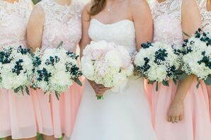 White Hydrangea Bouquets With Berries