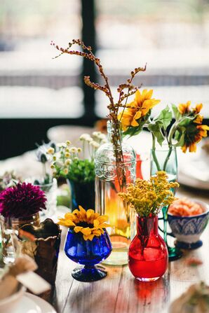 Colorful Vintage Glass Centerpieces