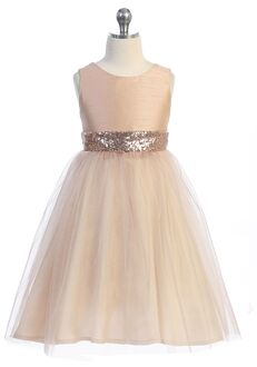 Kid's Dream Rose Gold Sequin Back V Dress Pink Flower Girl Dress