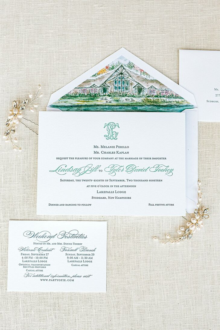 Preppy Wedding Invitations with Green Calligraphy and Watercolor Design