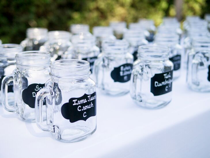 Glass Mason Jar Seating and Favors