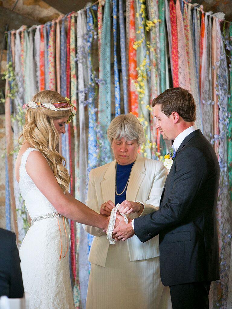 Colorful ribbon background for a fun ceremony idea