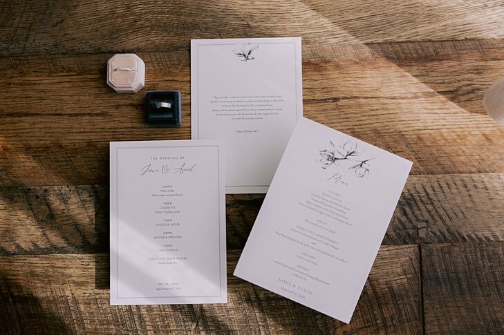 Day-of Stationery for Wedding at Dobin St. in Brooklyn, New York