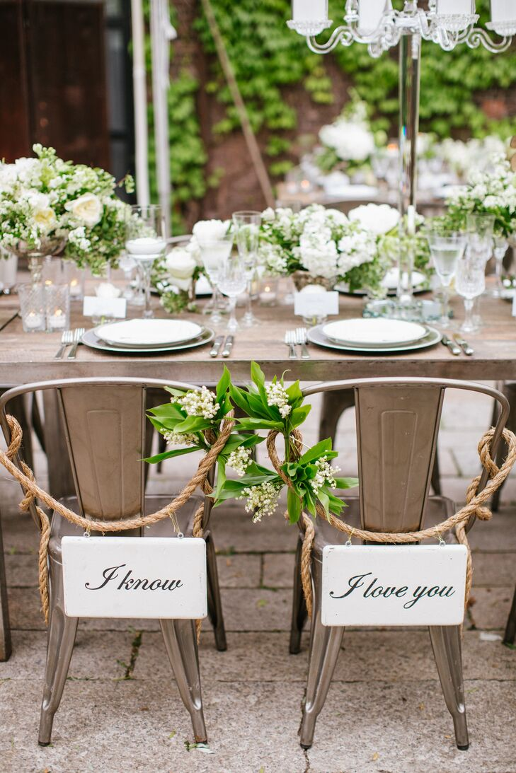 Romantic Bride and Groom Chair Signs