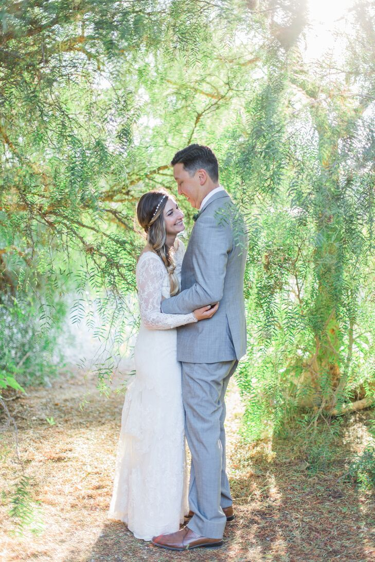 """I always wanted to wear a gray suit for my wedding, and it seemed to work out,"" Doug says. ""Gray fit in nicely with the garden, while black would have stood out like a sore thumb."""