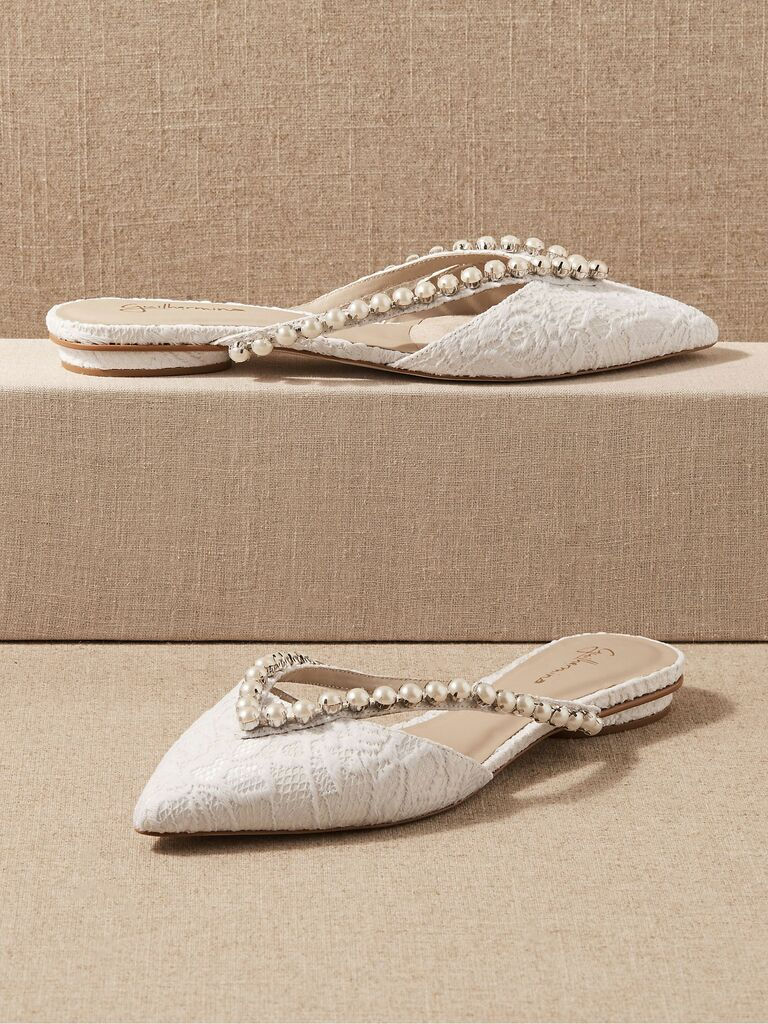 lace and pearl bridal flats