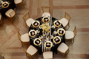 White, Black and Gold Table Decor