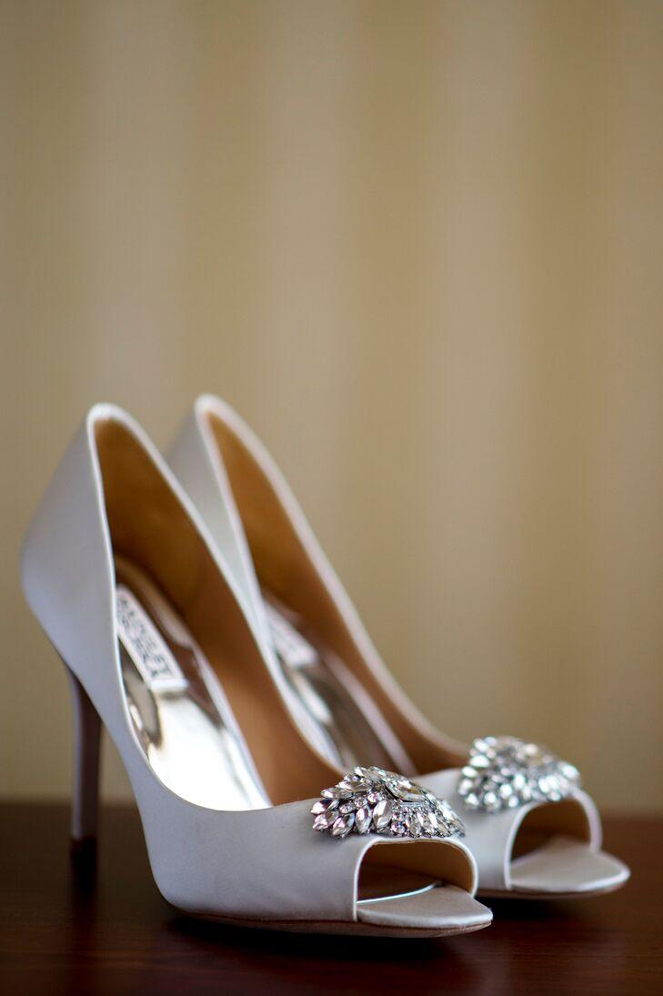 Silver Badgley Mischka Peep-Toe Heels