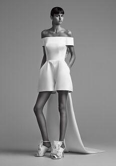 Viktor&Rolf Mariage SCULPTURAL BOW TRAIN MINI PANTSUIT Sheath Wedding Dress