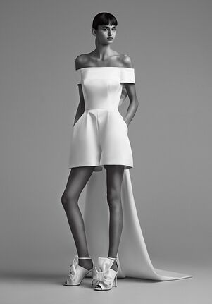 Viktor&Rolf Mariage SCULPTURAL BOW TRAIN MINI PANTSUIT Sheath Wedding Dress