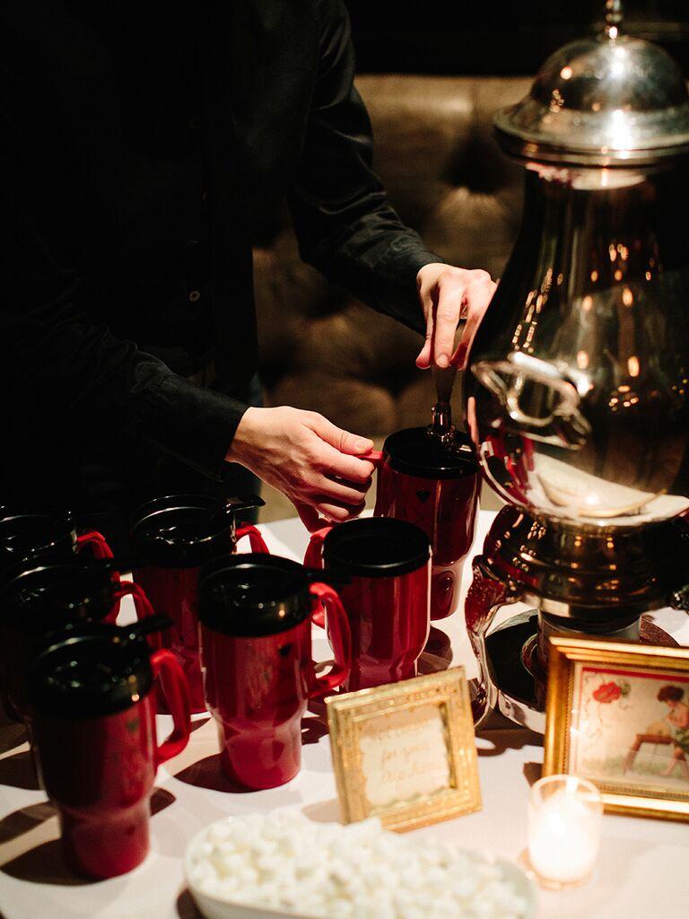 Coffee mugs as winter wedding favors