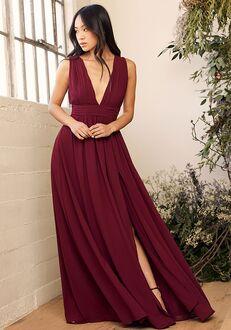 Lulus Heavenly Hues Burgundy Maxi Dress V-Neck Bridesmaid Dress