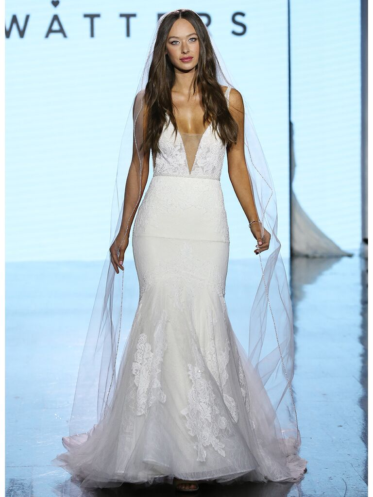 Watters wedding dress plunging lace mermaid gown
