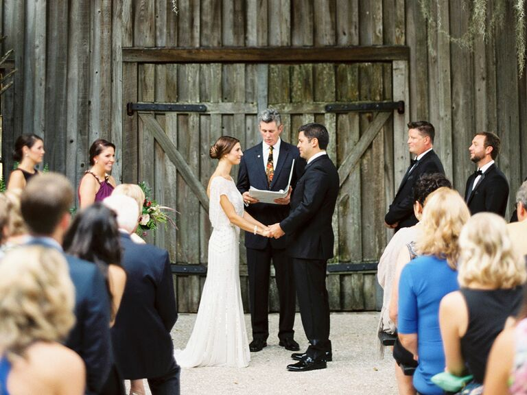 Rustic Utdoor Wedding Ceremony In Front Of Wooden Barn Doors Jophoto Walking Down The Aisle